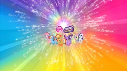 Size: 2556x1440 | Tagged: safe, applejack, fluttershy, pinkie pie, rainbow dash, rarity, twilight sparkle, alicorn, earth pony, pegasus, pony, unicorn, female, mane six, my little pony logo, rainbow power, twilight sparkle (alicorn), youtube banner