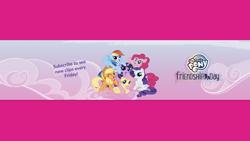 Size: 2048x1152 | Tagged: safe, applejack, fluttershy, pinkie pie, rainbow dash, rarity, twilight sparkle, alicorn, earth pony, pegasus, pony, unicorn, female, mane six, my little pony logo, twilight sparkle (alicorn), youtube banner
