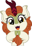 Size: 3431x5000 | Tagged: safe, artist:jhayarr23, autumn blaze, kirin, :3, awwtumn blaze, commission, commissioner:raritybro, cute, female, hooves together, open mouth, open smile, simple background, smiling, solo, starry eyes, transparent background, weapons-grade cute, wingding eyes, ych result