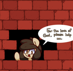 Size: 2500x2432 | Tagged: safe, artist:lou, oc, oc:louvely, brick wall, commission, commissioner:reversalmushroom, edgar allan poe, immurement, meme, solo, the cask of amontillado, wall