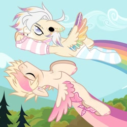 Size: 1080x1080 | Tagged: safe, artist:fluffponee, oc, oc only, pegasus, pony, clothes, cloud, duo, ear piercing, earring, eyelashes, eyes closed, flying, gay, hoof polish, jewelry, lip piercing, male, outdoors, pegasus oc, piercing, smiling, socks, stallion, striped socks, tree, two toned wings, wings