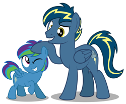 Size: 1600x1320 | Tagged: safe, artist:aleximusprime, oc, oc:storm streak, oc:thunderhead, pegasus, flurry heart's story, colt, father and child, father and son, father's day, male, noogie, parent:oc:thunderhead, parent:rainbow dash, parents:canon x oc