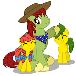 Size: 1600x1590 | Tagged: safe, artist:aleximusprime, tex, oc, oc:annie smith, oc:apple chip, flurry heart's story, apple twins, clothes, cowboy hat, father, father and child, father and daughter, father and son, father's day, female, hat, male, noogie, nuzzles, nuzzling, offspring, parent:applejack, parent:tex, parents:texjack, scarf, siblings, stetson, twins