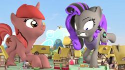 Size: 1280x720   Tagged: safe, artist:jeroen01, apple bloom, big macintosh, cheerilee, lyra heartstrings, soarin', spitfire, trixie, twilight sparkle, oc, oc:marshy, oc:mocha, earth pony, pegasus, pony, unicorn, 3d, female, giant pony, giantess, macro, male, mare, ponyville, source filmmaker, stallion