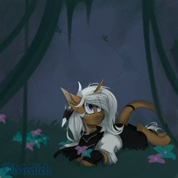 Size: 3000x3000 | Tagged: safe, artist:mediasmile666, oc, oc only, pony, unicorn, feather, female, leonine tail, lying down, mare, outdoors, solo