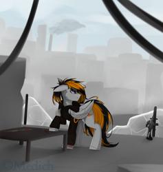 Size: 2563x2707 | Tagged: safe, artist:mediasmile666, oc, oc only, pegasus, pony, floppy ears, gun, male, solo, stallion, weapon