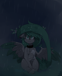 Size: 2426x3000 | Tagged: safe, artist:mediasmile666, oc, oc only, pegasus, pony, bandage, collar, colored wings, ear piercing, female, floppy ears, mare, night, piercing, rain, sitting, slit eyes, solo, spread wings, wing claws, wings