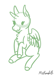 Size: 623x867 | Tagged: safe, artist:misskanabelle, oc, oc only, alicorn, alicorn oc, chest fluff, commission, female, horn, lineart, mare, monochrome, signature, smiling, solo, wings, your character here
