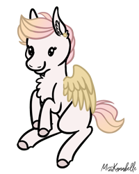 Size: 655x819 | Tagged: safe, artist:misskanabelle, oc, oc only, pegasus, pony, chest fluff, colored hooves, commission, ear fluff, pegasus oc, signature, sitting, smiling, solo, wings, ych result