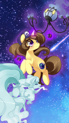 Size: 700x1244 | Tagged: safe, artist:loyaldis, oc, oc:astral flare, alolan ninetales, chandelure, ninetales, pony, unicorn, dusk balls, female, galaxy, magic, pokéball, pokémon, pokémon trainer, shooting star, stars
