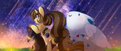 Size: 2268x958 | Tagged: safe, artist:loyaldis, oc, oc:astral flare, pony, togekiss, umbreon, unicorn, cute, female, galaxy, hat, night, pokémon, pokémon trainer, shooting star