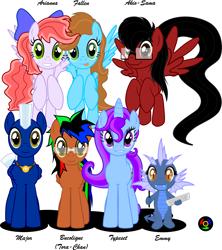 Size: 4465x5032 | Tagged: safe, artist:kyoshyu, oc, oc only, oc:akio-sama, oc:arianna, oc:bucolique, oc:emmy, oc:fallen, oc:major, oc:typeset, dragon, pegasus, pony, unicorn, absurd resolution, female, male, mare, stallion