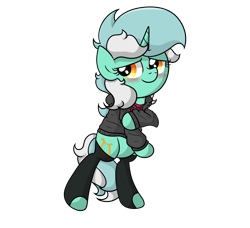 Size: 2598x2373 | Tagged: safe, artist:background basset, lyra heartstrings, pony, unicorn, bipedal, clothes, hoodie, shy, socks, solo, standing
