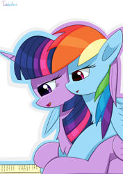 Size: 2480x3507 | Tagged: safe, artist:twidasher, rainbow dash, twilight sparkle, alicorn, pegasus, pony, blushing, book, chest fluff, duo, feather, female, lesbian, on top, reading, shipping, signature, simple background, twidash, twilight sparkle (alicorn), white background