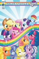 Size: 1349x2048 | Tagged: safe, artist:equestriadaily, applejack, applejack (g1), firefly, fluttershy, glory, pinkie pie, posey, rainbow dash, rarity, surprise, twilight (g1), twilight sparkle, alicorn, earth pony, pegasus, pony, unicorn, g1, g4, idw, applejack's hat, comic, comic cover, cowboy hat, crossover, female, hat, logo, mane six, missing accessory, my little pony logo, picture for breezies, rainbow, text, twilight sparkle (alicorn)