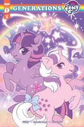 Size: 1348x2048 | Tagged: artist needed, safe, twilight (g1), twilight sparkle, alicorn, pony, unicorn, g1, idw, spoiler:comic, spoiler:comicgenerations, bow, comic, comic cover, crossover, duo, duo female, female, females only, g4 to g1, generation leap, logo, my little pony logo, my little pony: generations, rainbow, stars, tail bow, text, twilight sparkle (alicorn)