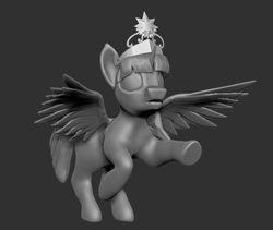 Size: 713x601 | Tagged: safe, artist:sin75, twilight sparkle, 3d, crown, female, gray background, grayscale, jewelry, monochrome, regalia, simple background, solo, wings, zbrush