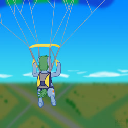 Size: 1000x1000 | Tagged: safe, artist:phallen1, oc, oc:software patch, earth pony, atg 2021, male, newbie artist training grounds, parachute, scenery, sky, skydiving, solo