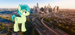 Size: 2048x965 | Tagged: safe, artist:sirmlp1, sandbar, pony, giant pony, highrise ponies, houston, irl, macro, photo, texas