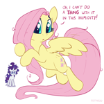 Size: 2048x2048 | Tagged: safe, artist:pfeffaroo, fluttershy, rarity, pegasus, pony, unicorn, duo, duo female, female, high res, mare, messy mane, sad, simple background, solo focus, teary eyes, text, this will end in marshmelodrama, white background