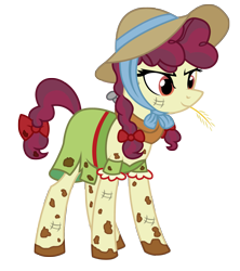 Size: 2269x2550 | Tagged: safe, alternate version, artist:three uncle, hilly hooffield, earth pony, pony, the hooffields and mccolts, background pony, bow, clothes, female, hair bow, hat, high res, hooffield family, horse collar, mare, mud, muddy, pigtails, pose, simple background, solo, straw in mouth, sun hat, transparent background, vector
