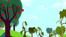 Size: 1280x720   Tagged: safe, screencap, do princesses dream of magic sheep, season 5, apple, apple tree, background, cloud, dream realm, no pony, scenic ponyville, sweet apple acres, tree