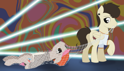 Size: 2925x1678   Tagged: safe, artist:dyonys, earth pony, pegasus, pony, abstract background, beanie, clothes, hat, josh dun, lying down, male, mouth hold, net, pulling, stallion, standing, twenty one pilots, tyler joseph