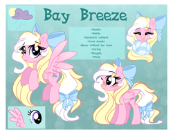 Size: 4500x3500 | Tagged: safe, artist:emberslament, oc, oc only, oc:bay breeze, pegasus, pony, blushing, bow, clothes, cute, female, hair bow, heart eyes, high res, long mane, mare, pegasus oc, reference sheet, socks, solo, striped socks, tail bow, text, wingding eyes