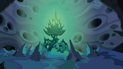 Size: 5336x3000 | Tagged: safe, artist:jeatz-axl, season 6, to where and back again, absurd resolution, background, changeling hive, no pony, throne room, vector