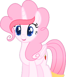 Size: 618x727   Tagged: safe, artist:muhammad yunus, oc, oc only, oc:strawberries, alicorn, pony, alicorn oc, base used, female, horn, indonesia, mare, open mouth, open smile, simple background, smiling, solo, transparent background, vector, wings