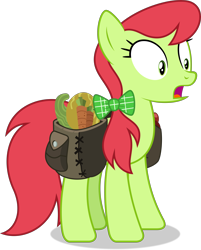 Size: 7296x9083   Tagged: safe, artist:thatusualguy06, peachy sweet, earth pony, pony, triple threat, .svg available, absurd resolution, apple family member, bag, female, mare, open mouth, saddle bag, shocked, simple background, solo, transparent background, vector