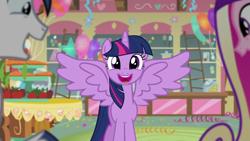 Size: 1280x720 | Tagged: safe, screencap, princess cadance, shining armor, twilight sparkle, alicorn, pony, unicorn, season 5, the one where pinkie pie knows, cute, cutedance, female, male, mare, open mouth, shining adorable, smiling, spread wings, stallion, sugarcube corner, twiabetes, twilight sparkle (alicorn), wings