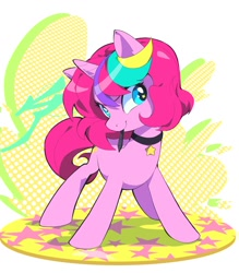 Size: 1378x1574   Tagged: safe, artist:aetherionart, oc, oc only, oc:techy twinkle, pony, unicorn, abstract background, choker, female, horn, looking at you, mare, mouth hold, smiling, solo, standing, stars, tablet pen, wingding eyes