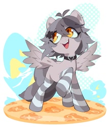 Size: 1429x1700   Tagged: safe, artist:aetherionart, oc, oc only, oc:snuffy, pegasus, pony, choker, clothes, fangs, heart choker, looking back, open mouth, raised hoof, smiling, socks, solo, spread wings, striped socks, vtuber, wings