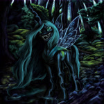 Size: 6000x6000   Tagged: safe, artist:misstwipietwins, queen chrysalis, changeling, changeling queen, absurd resolution, female, foliage, forest, forest background, solo