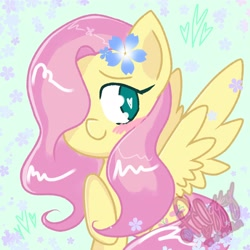 Size: 2048x2048 | Tagged: safe, artist:fr0ggey, fluttershy, pegasus, pony, blushing, cute, flower, flower in hair, hair over one eye, shyabetes, smiling, solo, spread wings, wings
