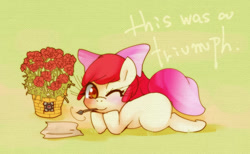 Size: 1000x616 | Tagged: safe, artist:girlieginger, apple bloom, earth pony, pony, adorabloom, bow, companion cube, cute, female, filly, flower, hair bow, looking at you, mouth hold, one eye closed, portal, portal (valve), rose, solo