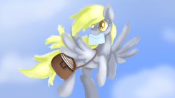 Size: 1600x900   Tagged: safe, artist:jbond, derpy hooves, flying, mail, mailbag, mailmare, mailpony