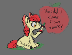 Size: 545x422   Tagged: safe, artist:purple-blep, apple bloom, apple, female, filly, food, solo, text