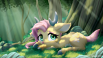 Size: 3200x1800 | Tagged: safe, artist:symbianl, fluttershy, deer, antlers, cloven hooves, colored hooves, crepuscular rays, cute, dappled sunlight, deerified, ear fluff, female, floppy ears, flutterdeer, forest, grass, high res, looking at you, lying down, outdoors, pale belly, prone, shyabetes, solo, species swap, three quarter view, tree, unshorn fetlocks