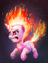 Size: 4010x5320   Tagged: safe, artist:xbi, twilight sparkle, pony, unicorn, feeling pinkie keen, angery, angry, burning, female, fire, furious, glare, glowing horn, gradient background, horn, mane of fire, mare, rapidash twilight, red eyes, solo, tabun art-battle finished after, tail of fire, unicorn twilight
