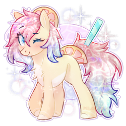 Size: 2500x2500 | Tagged: safe, artist:polar_bolar, oc, oc only, earth pony, pony, blushing, cute, female, looking at you, mare, one eye closed, simple background, solo, transparent background, wink