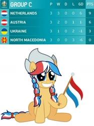 Size: 974x1303 | Tagged: safe, artist:ashidaru, edit, oc, oc:ember (hwcon), pony, austria, dutch, euro 2020, female, flag, gritted teeth, holding a flag, netherlands, north macedonia, solo, teeth, ukraine
