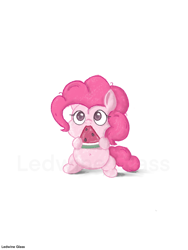 Size: 1536x2048 | Tagged: safe, artist:ledwine glass, pinkie pie, earth pony, pony, belly button, chibi, chubby, cute, diapinkes, eating, female, food, mare, simple background, solo, watermark, watermelon