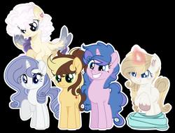 Size: 4160x3168 | Tagged: safe, artist:harmonylightsentryyt, artist:magicallightsentryyt, artist:prismborealisdash, artist:stardustshadowsentry, artist:starshine-sentryyt, oc, oc only, oc:apple heart, oc:astral chaotic paw, oc:crystal chalice, oc:sapphire stitch, earth pony, pegasus, pony, unicorn, female, mare, offspring, parent:applejack, parent:caramel, parent:fancypants, parent:rarity, parents:carajack, parents:raripants, simple background, transparent background