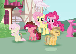 Size: 1920x1372 | Tagged: safe, artist:stardustshadowsentry, fluttershy, pinkie pie, oc, oc:candy apple, oc:shattered galactic, oc:sprinkle pie, hybrid, pony, female, filly, interspecies offspring, offspring, older, parent:applejack, parent:caramel, parent:cheese sandwich, parent:discord, parent:fluttershy, parent:pinkie pie, parents:carajack, parents:cheesepie, parents:discoshy