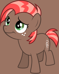 Size: 1844x2317 | Tagged: safe, artist:katielinda45, babs seed, earth pony, pony, g1, g4, brown background, female, filly, freckles, g4 style, simple background, smiling, smirk