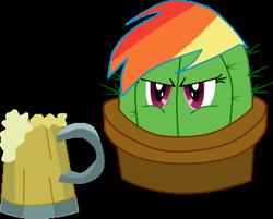 Size: 343x276 | Tagged: safe, artist:cinder vel, rainbow dash, cactus, cider, cider mug, mug, plant tf, rainbow dash is not amused, unamused