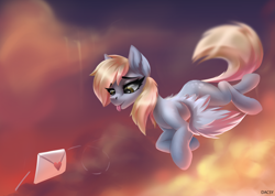 Size: 2958x2108 | Tagged: safe, derpy hooves, ditzy doo, pegasus, pony, evening, flying, heart, letter, solo, tongue out, wings