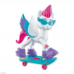 Size: 2400x2400 | Tagged: safe, zipp storm, pegasus, pony, g5, official, clothes, female, glasses, high res, mare, shoes, skateboard, smiling, solo, toy